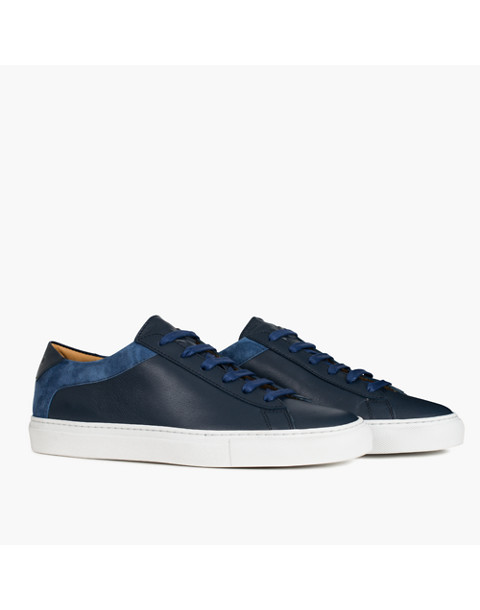 Unisex Koio Capri Vento Low-Top Sneakers in Blue Leather