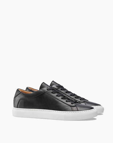 Unisex Koio Capri Onyx Low-Top Sneakers in Black Leather in black image 1
