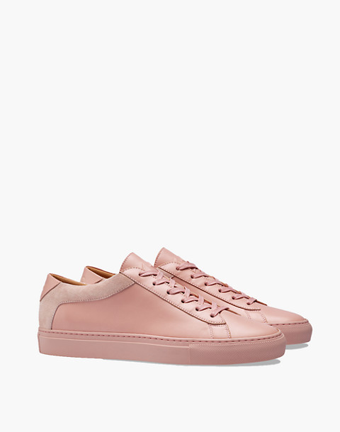 Unisex Koio Capri Fiore Low-Top Sneakers in Pink Leather in pink image 1