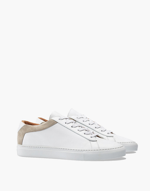 Unisex Koio Capri Bianco Low-Top Sneakers in White Leather in white image 1