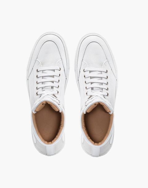 Unisex Koio Primo Bianco High-Top Sneakers in White Leather in white image 2