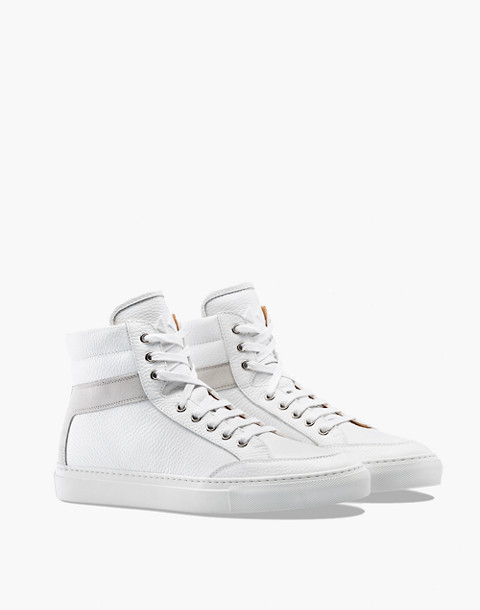 Unisex Koio Primo Bianco High-Top Sneakers in White Leather in white image 1