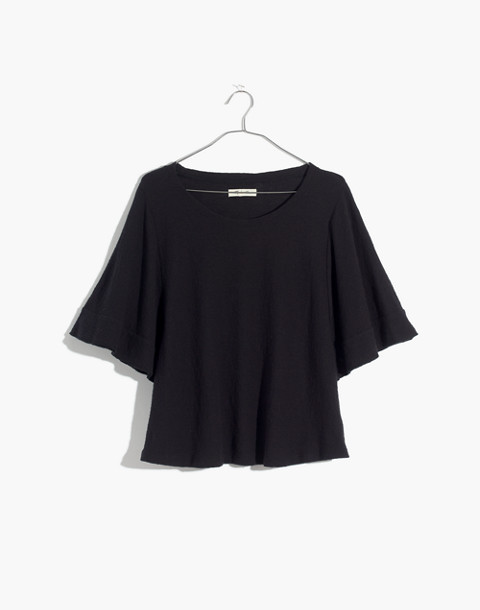 Texture & Thread Flutter-Sleeve Top in true black image 1