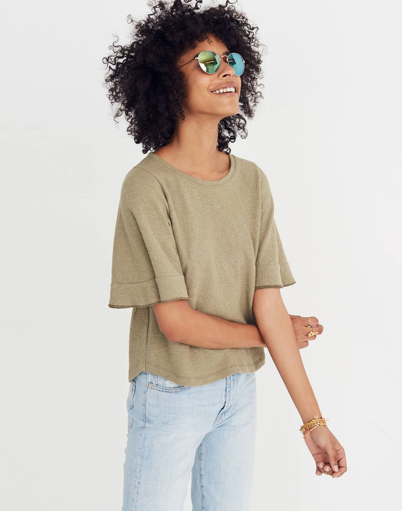 Texture & Thread Flutter-Sleeve Top in tundra image 2