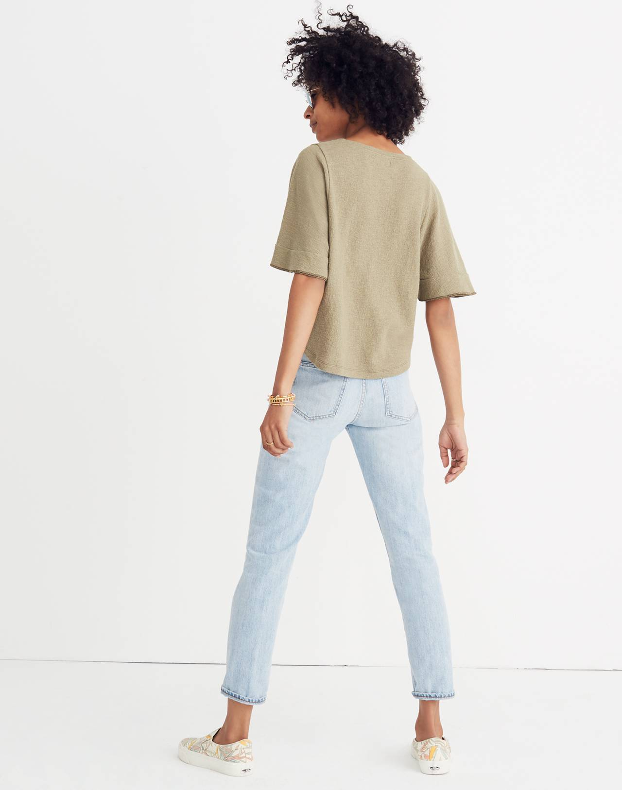 Texture & Thread Flutter-Sleeve Top in tundra image 3
