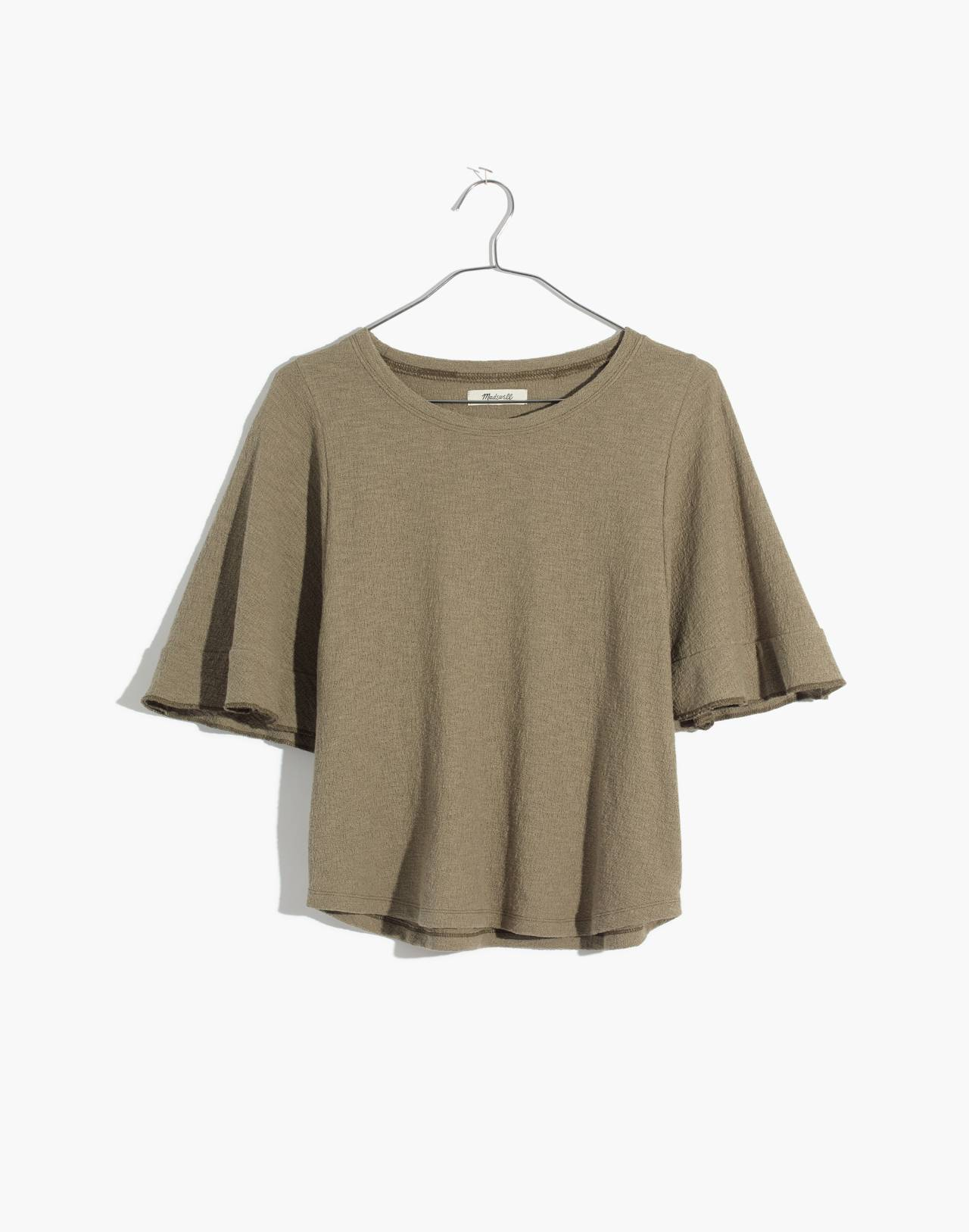 Texture & Thread Flutter-Sleeve Top in tundra image 4