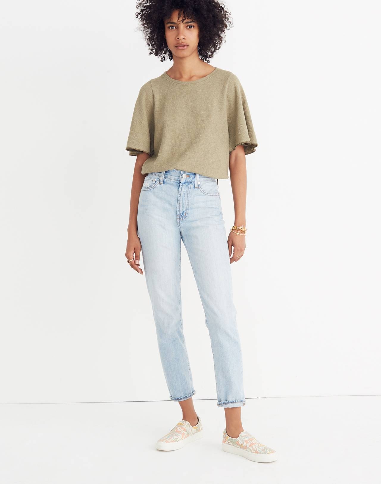 Texture & Thread Flutter-Sleeve Top in tundra image 1