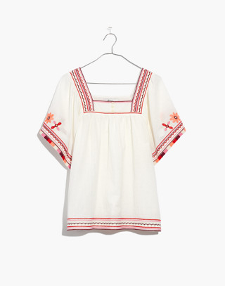 Embroidered Sandblossom Top in white wash image 4