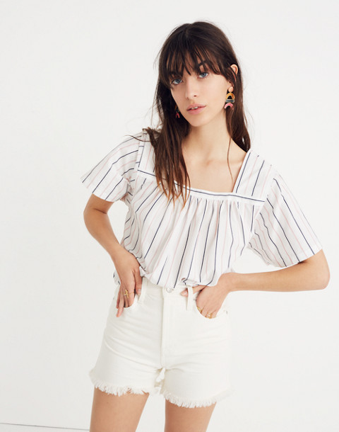 Striped Square-Neck Top in lulu stripe image 1