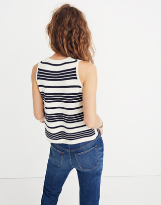 Stripe-Play Sweater Tank in bright ivory image 3