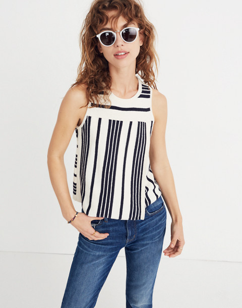 Stripe-Play Sweater Tank in bright ivory image 1