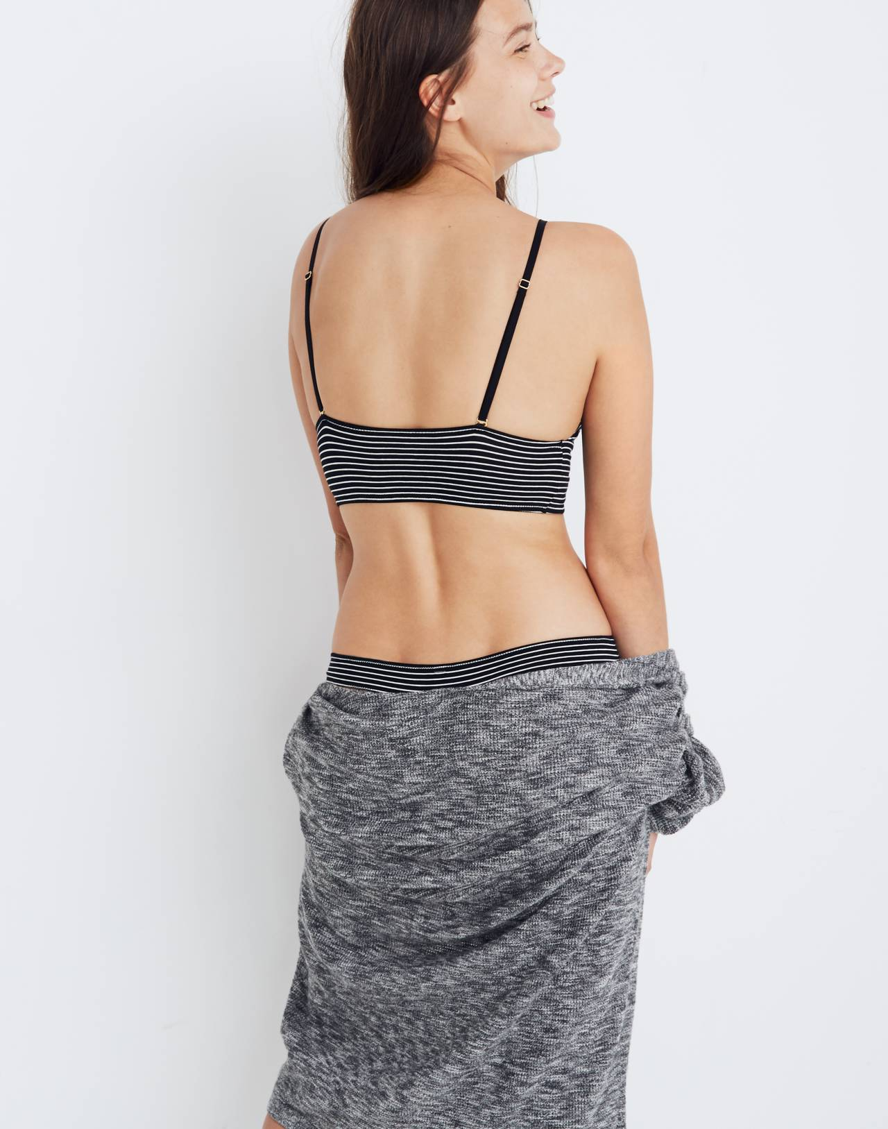 Cotton-Modal® Kealy Longline Bralette in Stripe-Mix in bright ivory image 3