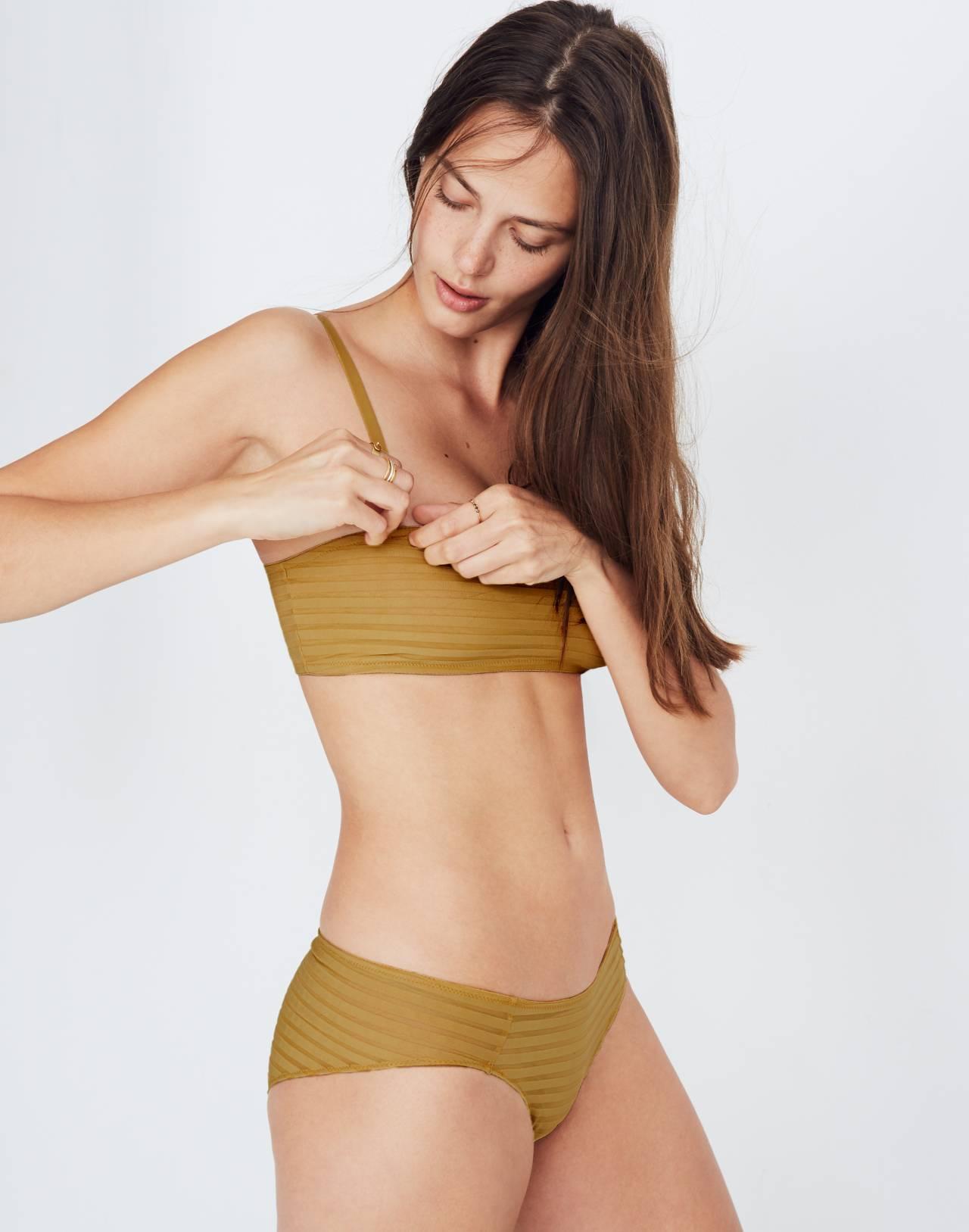 Sheer-Stripe Dani Bandeau Bralette in bronzed amber image 2