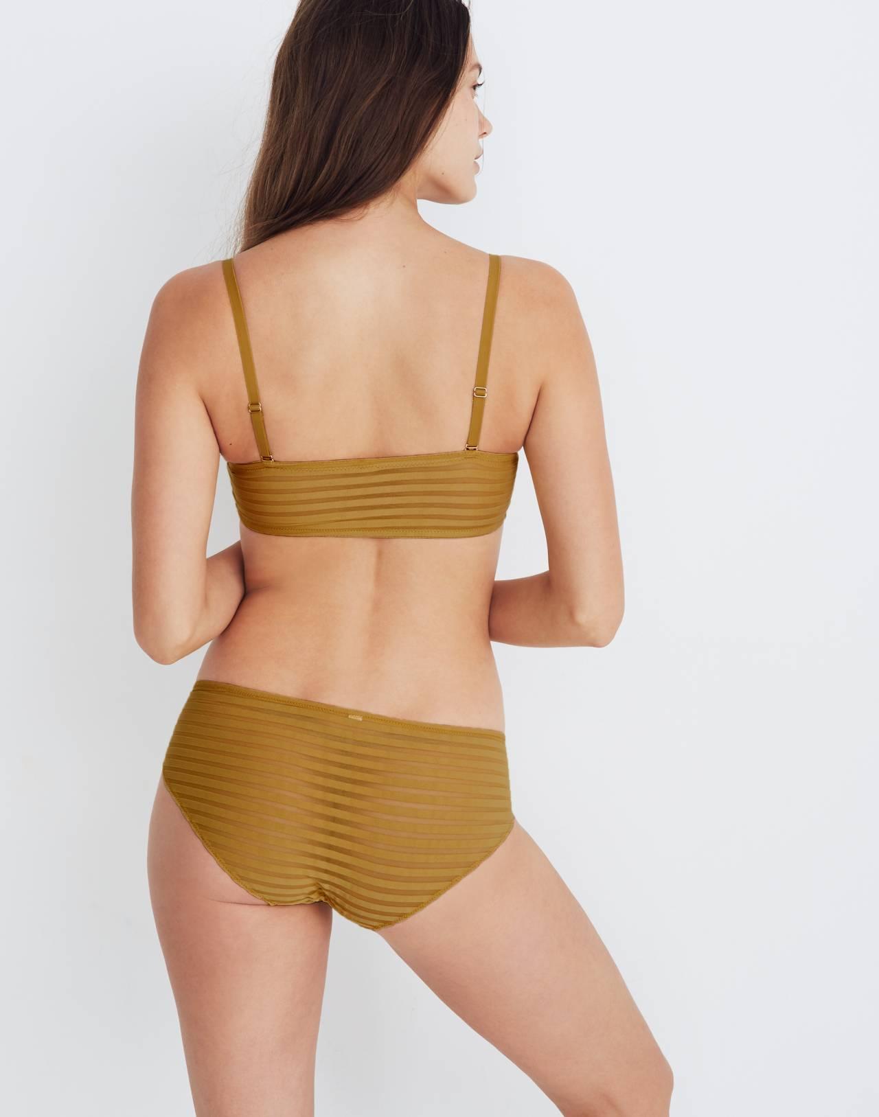 Sheer-Stripe Dani Bandeau Bralette in bronzed amber image 3