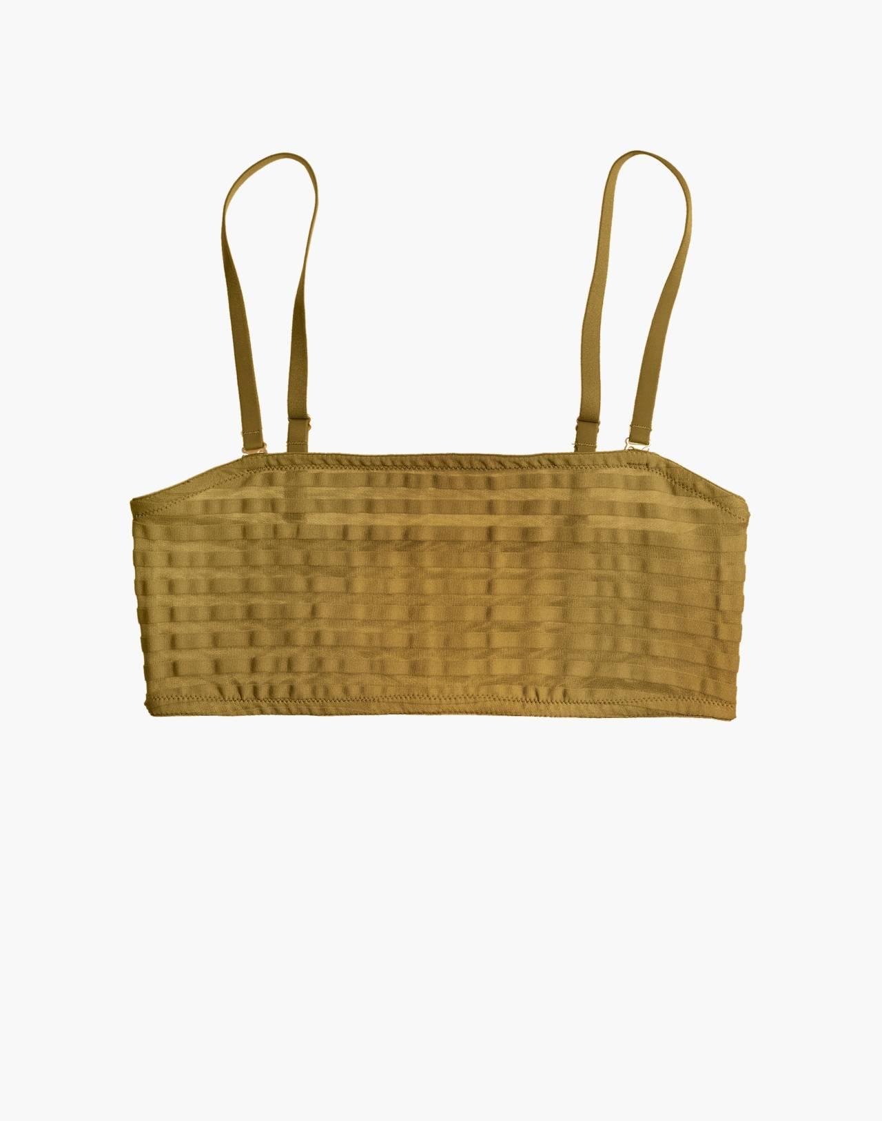 Sheer-Stripe Dani Bandeau Bralette in bronzed amber image 4
