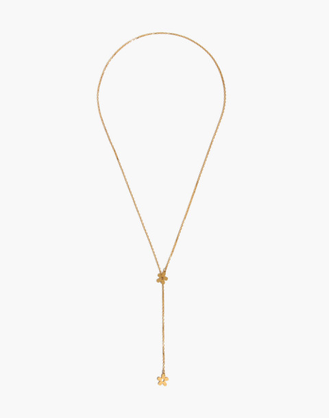 Daisy Lariat Necklace in vintage gold image 2