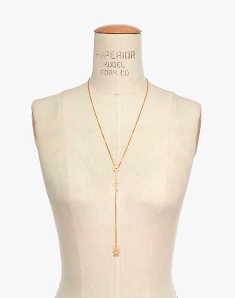 Daisy Lariat Necklace in vintage gold image 3