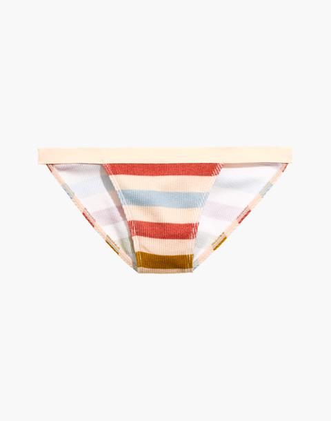 Waffle Knit String Bikini in Hewitt Stripe in champagne image 4