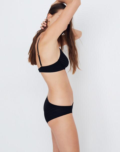 Sheer-Stripe Fabiana Underwire Bralette in true black image 2