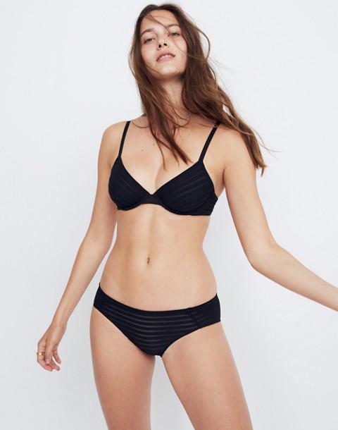 Sheer-Stripe Fabiana Underwire Bralette in true black image 1