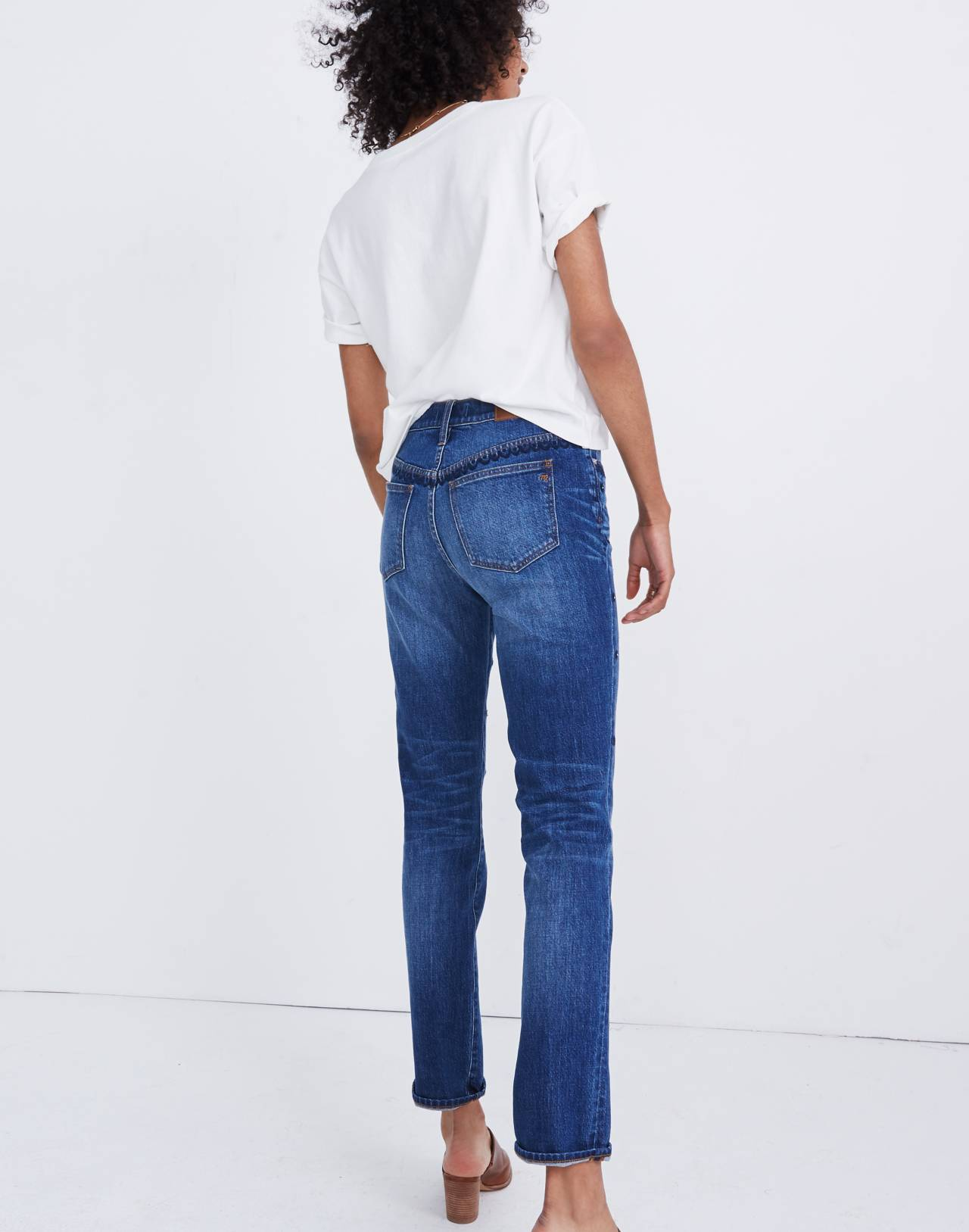 The High-Rise Slim Boyjean: Beaded Edition in cline wash image 3