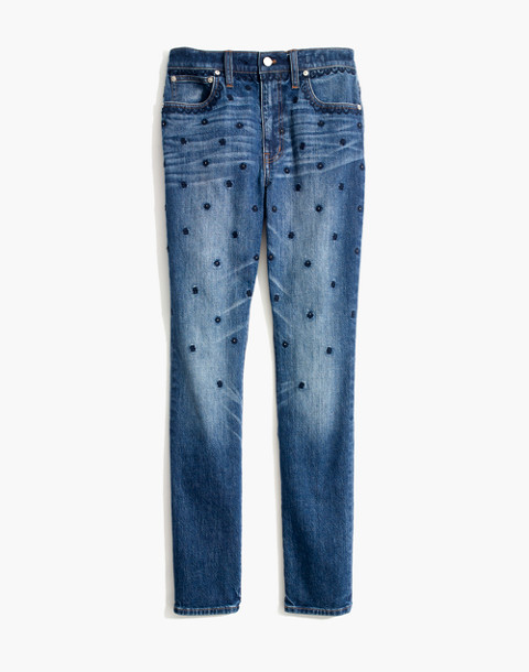 The High-Rise Slim Boyjean: Beaded Edition in cline wash image 4