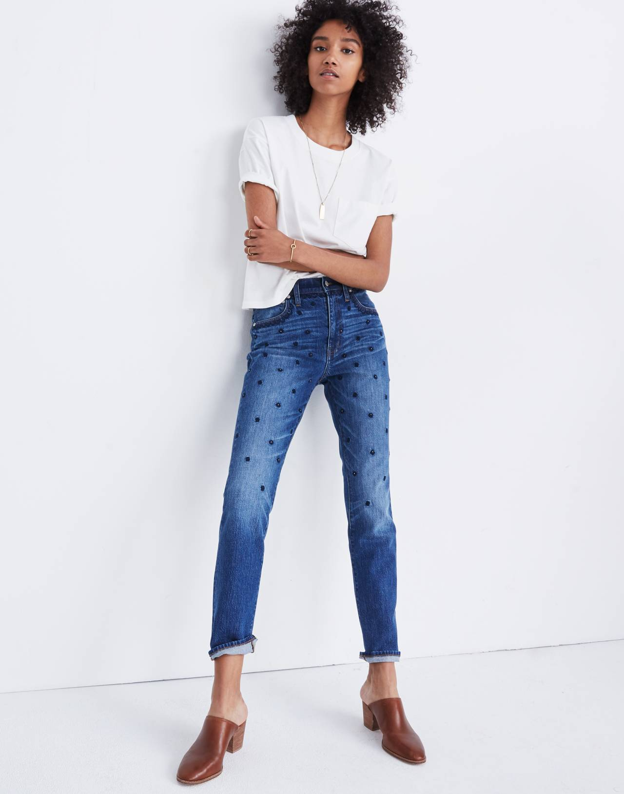 The High-Rise Slim Boyjean: Beaded Edition in cline wash image 1