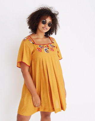 Embroidered Square-Neck Mini Dress