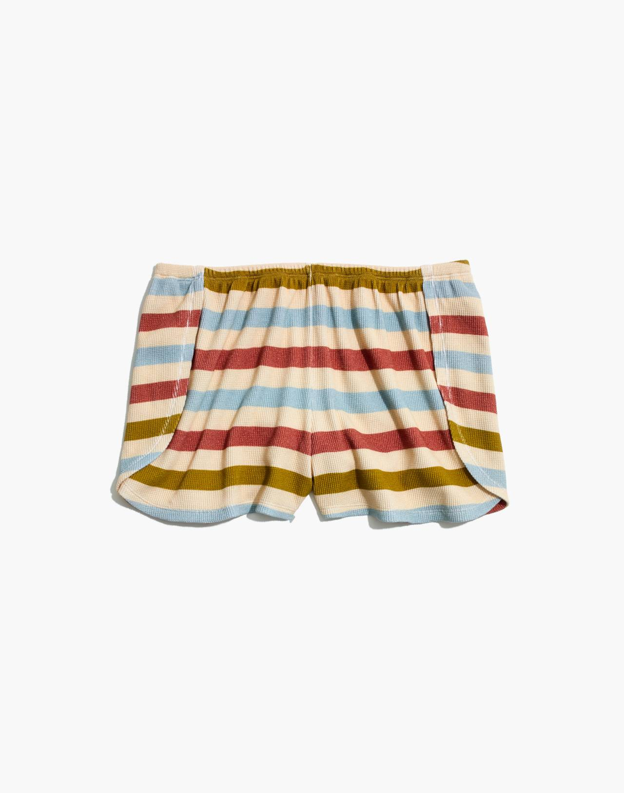 Waffle Knit Pajama Shorts in Hewitt Stripe in champagne image 4