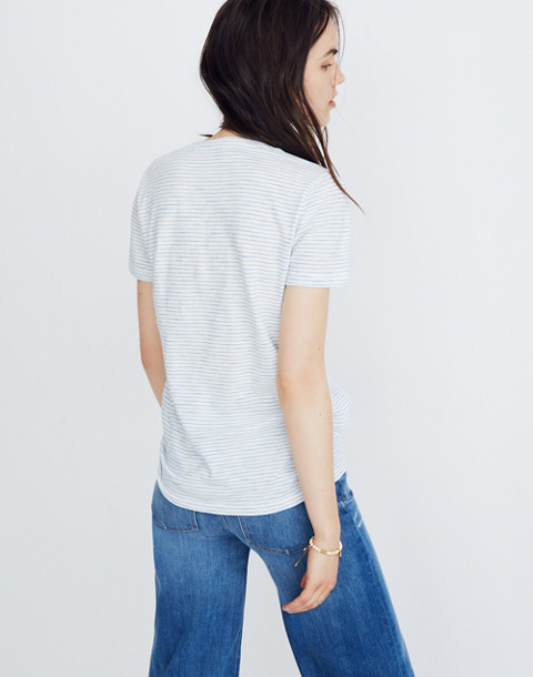 Whisper Cotton V-Neck Pocket Tee in Gwen Stripe in bright ivory image 3