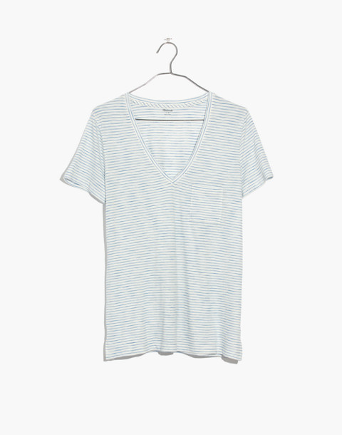 Whisper Cotton V-Neck Pocket Tee in Gwen Stripe in bright ivory image 4