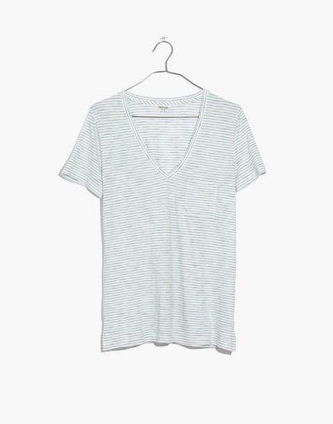 Whisper Cotton V-Neck Pocket Tee in Gwen Stripe in bright ivory image 4