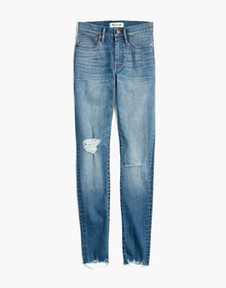 "Petite 9"" High-Rise Skinny Jeans in Frankie Wash: Torn-Knee Edition in frankie wash image 4"