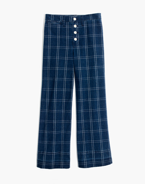 Emmett Wide-Leg Crop Pants in Indigo Check in julie check image 4