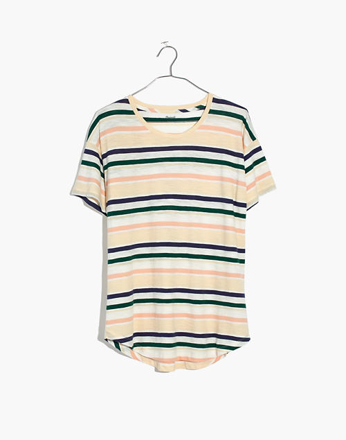 f91ae9c1 Whisper Cotton Crewneck Tee in Carlsbad Stripe in bright ivory image 4