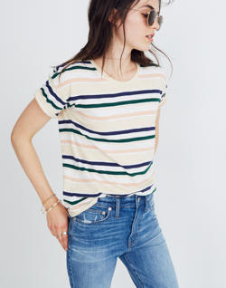 Whisper Cotton Crewneck Tee in Carlsbad Stripe