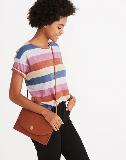 Whisper Cotton Crewneck Tee in Longrock Stripe in violet tint image 2