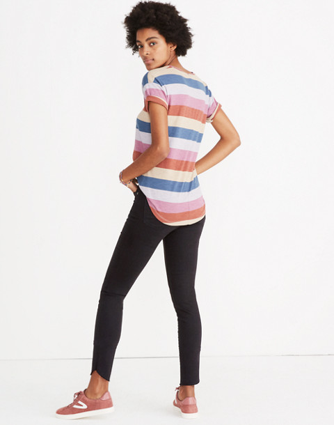 Whisper Cotton Crewneck Tee in Longrock Stripe in violet tint image 3