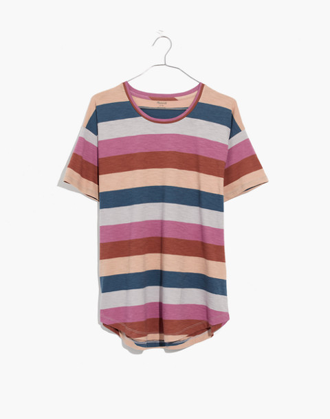 Whisper Cotton Crewneck Tee in Longrock Stripe in violet tint image 4