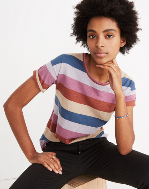 Whisper Cotton Crewneck Tee in Longrock Stripe in violet tint image 1