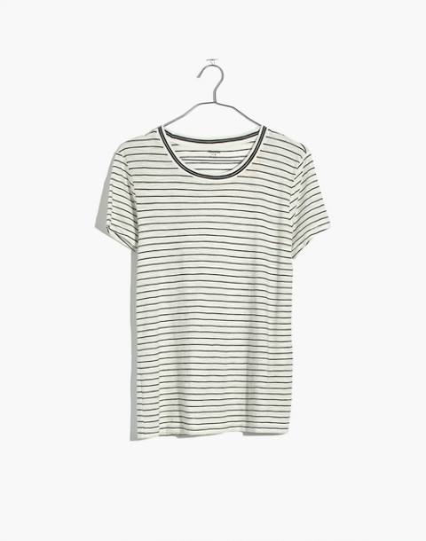 Whisper Cotton Ringer Tee in Damien Stripe in antique cream image 4
