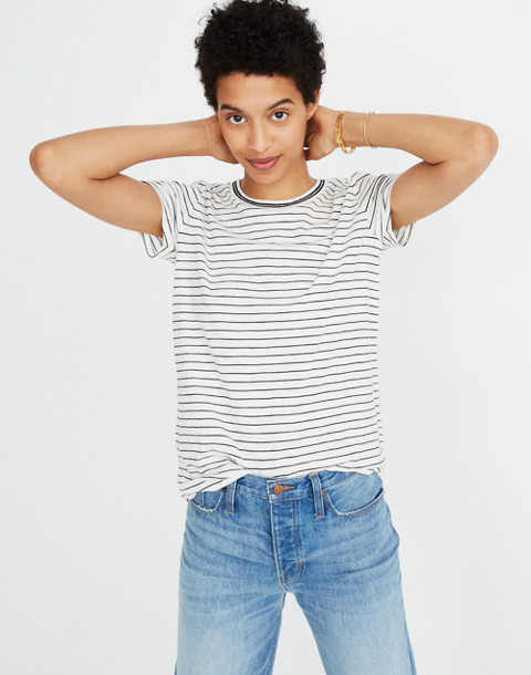 Whisper Cotton Ringer Tee in Damien Stripe in antique cream image 1