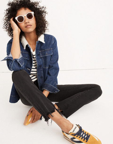 Cali Demi-Boot Jeans in Berkeley Black: Chewed-Hem Edition in berkeley wash image 1