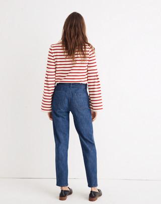 Denim Tie-Waist Tapered Pants in devine wash image 2