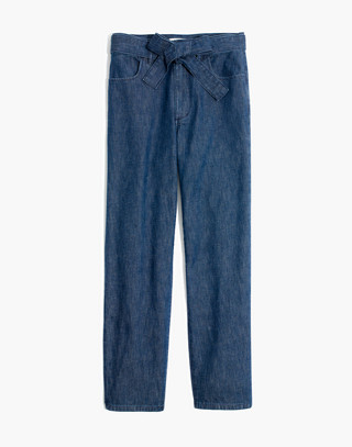 Denim Tie-Waist Tapered Pants in devine wash image 4