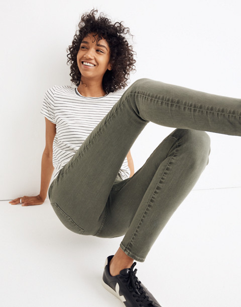 "9"" High-Rise Skinny Jeans: Garment-Dyed Button-Front Edition in highland green image 2"