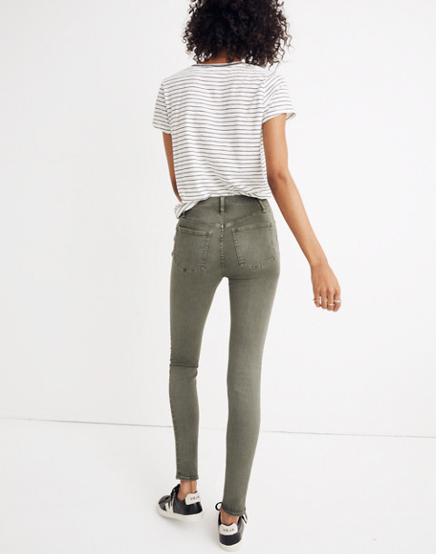 "9"" High-Rise Skinny Jeans: Garment-Dyed Button-Front Edition in highland green image 3"