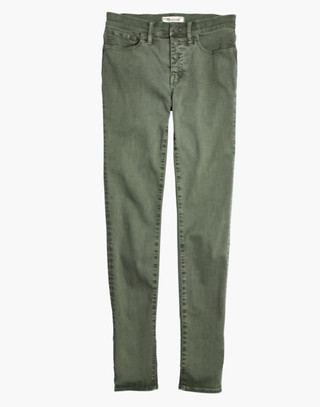 "Tall 9"" High-Rise Skinny Jeans: Garment-Dyed Button-Front Edition in highland green image 4"