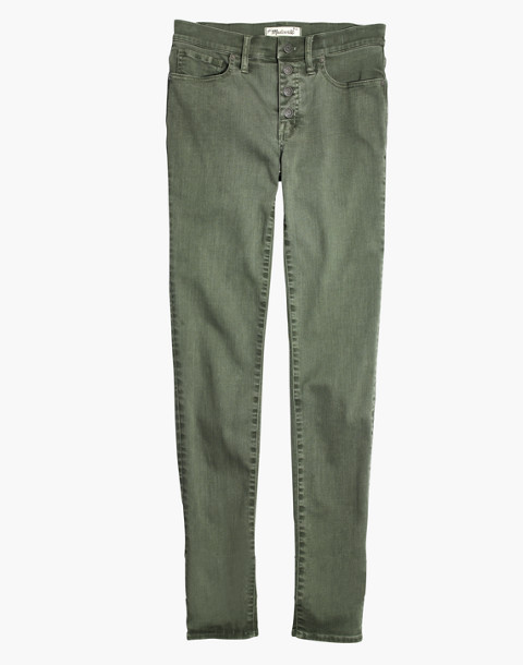 "9"" High-Rise Skinny Jeans: Garment-Dyed Button-Front Edition in highland green image 4"