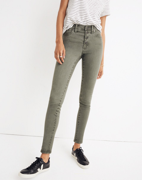 "9"" High-Rise Skinny Jeans: Garment-Dyed Button-Front Edition in highland green image 1"